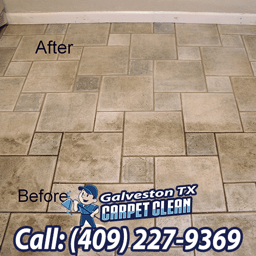 Tile And Grout Cleaning Before and After Galveston Texas